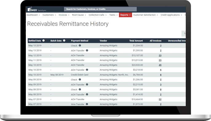 Esker's payment software featuring the receivables remittance history report