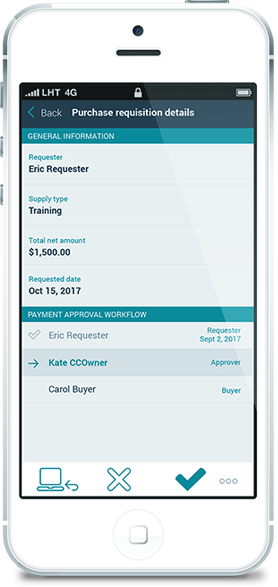 Purchase requisition on mobile
