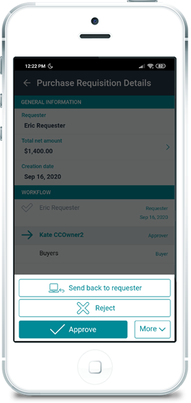 Esker's procurement requisition solution on mobile