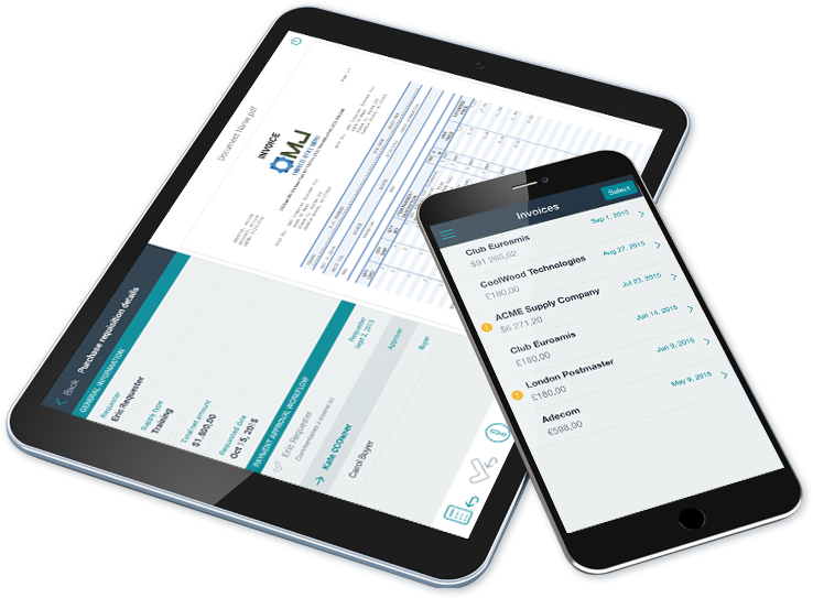 Esker's mobile ap invoice approval shown on tablet and phone